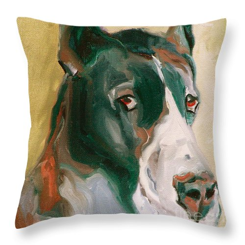 Greeting Cards Throw Pillow featuring the painting Delicious Dane by Susan A Becker