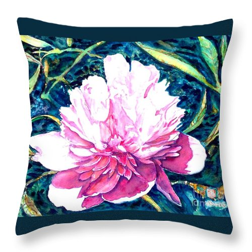 Peony Throw Pillow featuring the painting Delightful Peony by Norma Boeckler