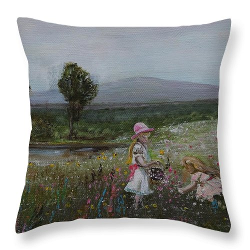 Impressionist Throw Pillow featuring the painting Delights Of Spring - Lmj by Ruth Kamenev