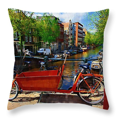 Bike Throw Pillow featuring the photograph Delivery Bike by Tom Reynen