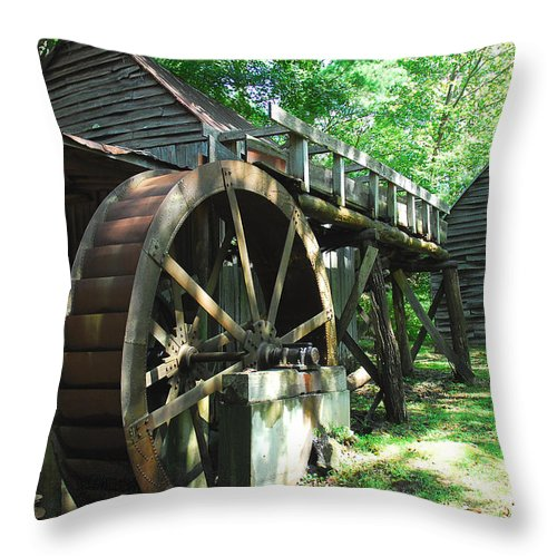 Grist Mill Throw Pillow featuring the photograph Dellinger Mill by Alan Lenk
