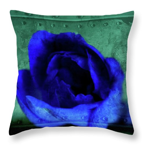 Mixed Media Throw Pillow featuring the mixed media Delphinium by Bonnie Bruno