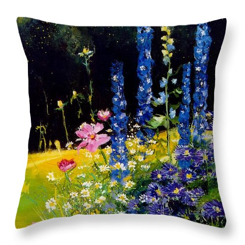 Poppies Throw Pillow featuring the painting Delphiniums by Pol Ledent