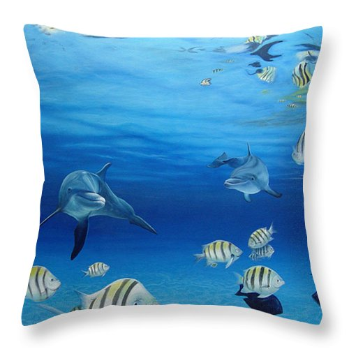 Seascape Throw Pillow featuring the painting Delphinus by Angel Ortiz