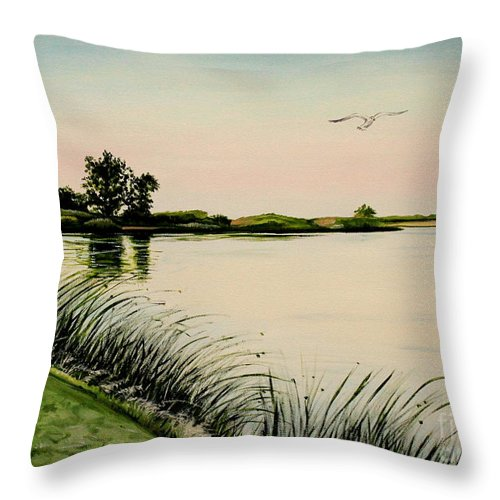 Landscape Throw Pillow featuring the painting Delta At Dusk by Elizabeth Robinette Tyndall