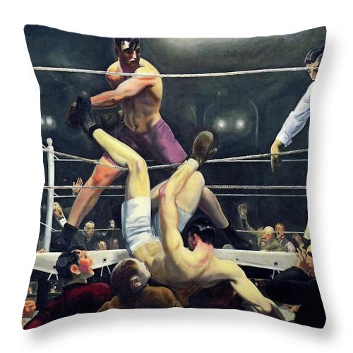Dempsey Throw Pillow featuring the painting Dempsey And Firpo by George Wesley Bellows