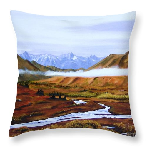 Art Throw Pillow featuring the painting Denali Autumn by Mary Rogers