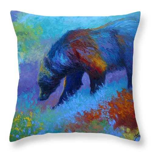 Western Throw Pillow featuring the painting Denali Grizzly Bear by Marion Rose