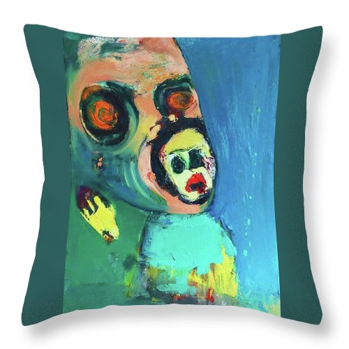 Fear Throw Pillow featuring the painting Denied Independence by Robert Abkorovits