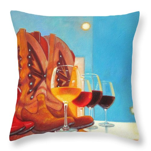 Wine Painting Throw Pillow featuring the painting Denim And Diamonds by Penelope Moore