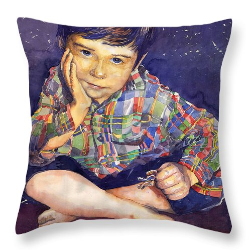 Watercolor Watercolour Portret Figurativ Realism People Commissioned Throw Pillow featuring the painting Denis 01 by Yuriy Shevchuk