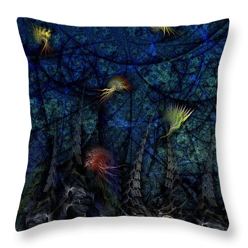 Abstract Throw Pillow featuring the digital art Denizens by Casey Kotas