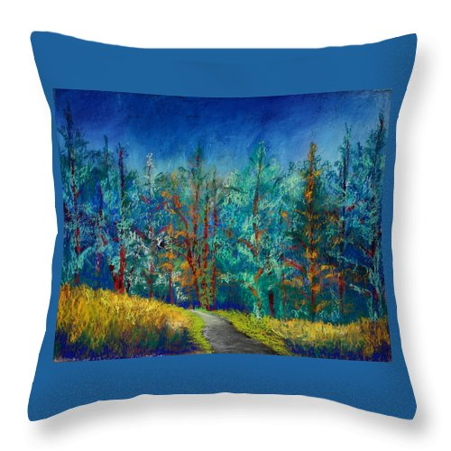 Forest Throw Pillow featuring the painting Dense Forest by Karin Eisermann