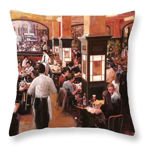 Coffee Shop Throw Pillow featuring the painting Dentro Il Caffe by Guido Borelli