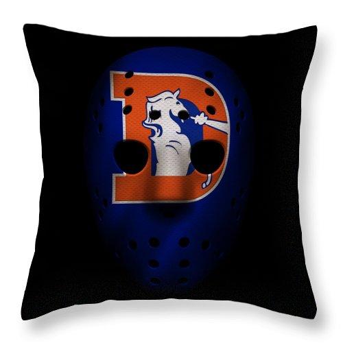 Broncos Throw Pillow featuring the photograph Denver Broncos War Mask 3 by Joe Hamilton
