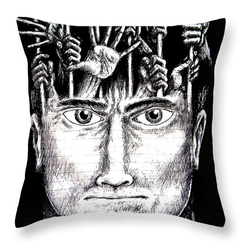 Imprisonment Throw Pillow featuring the mixed media Deprivation Of Freedom Of Expression by Paulo Zerbato