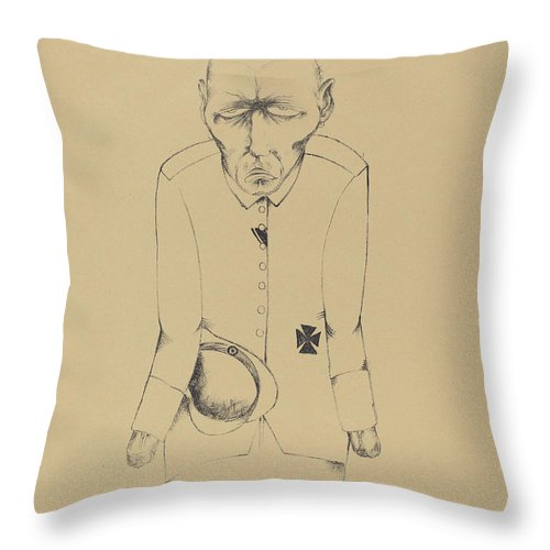 Throw Pillow featuring the drawing Der Erwerbslose (the Unemployed Man) by Heinrich Hoerle