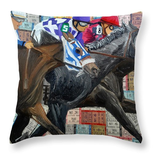 Horse Racing Throw Pillow featuring the painting Derby Tickets IIi by Michael Lee
