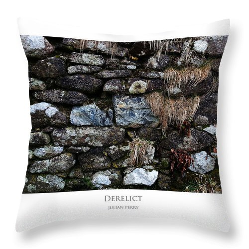 Cornwall Throw Pillow featuring the digital art Derelict by Julian Perry