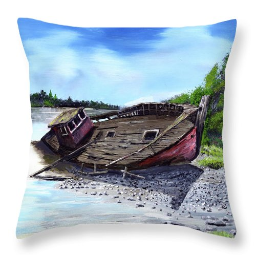 Alaska River Boat Fishing Derelict Sandbar Throw Pillow featuring the painting Derelict by Kenneth Nelson