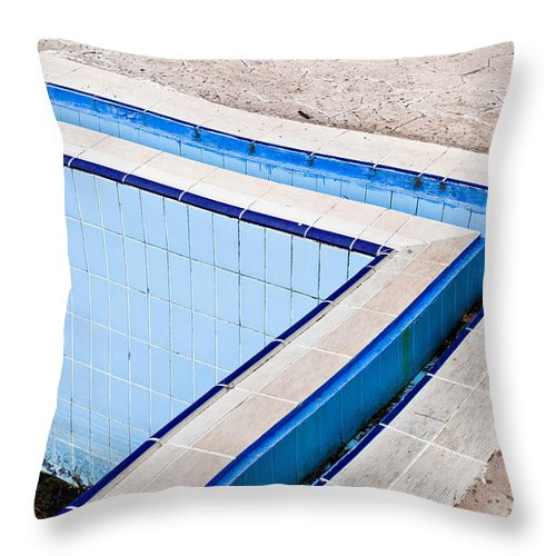 Algae Throw Pillow featuring the photograph Derelict Swimming Pool by Tom Gowanlock