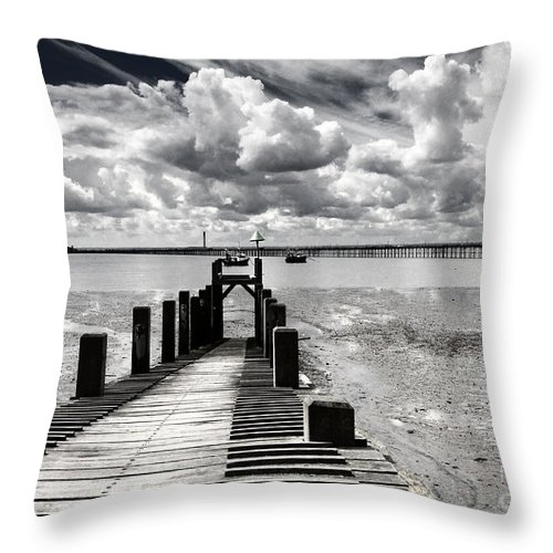 Wharf Southend Essex England Beach Sky Throw Pillow featuring the photograph Derelict Wharf by Sheila Smart Fine Art Photography
