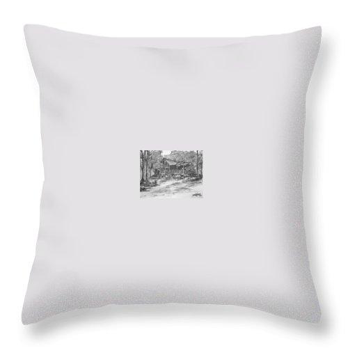 Barn Throw Pillow featuring the painting Derrick by Derek Mccrea