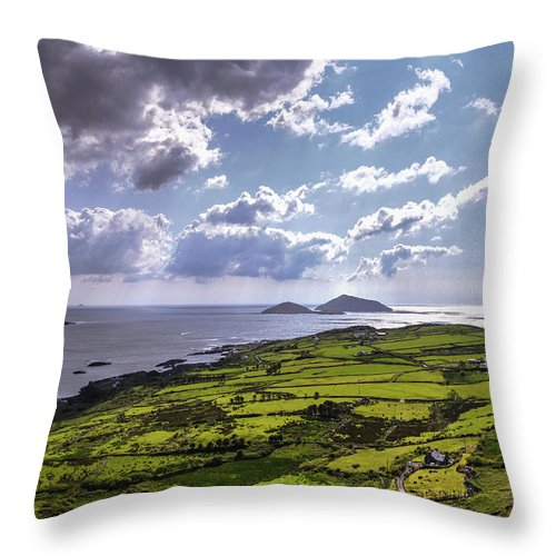 Derrynane Throw Pillow featuring the photograph Derrynane National Park Along Ring Of Kerry, Ireland by Bob Cuthbert