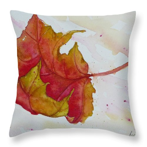 Fall Throw Pillow featuring the painting Descending by Ruth Kamenev