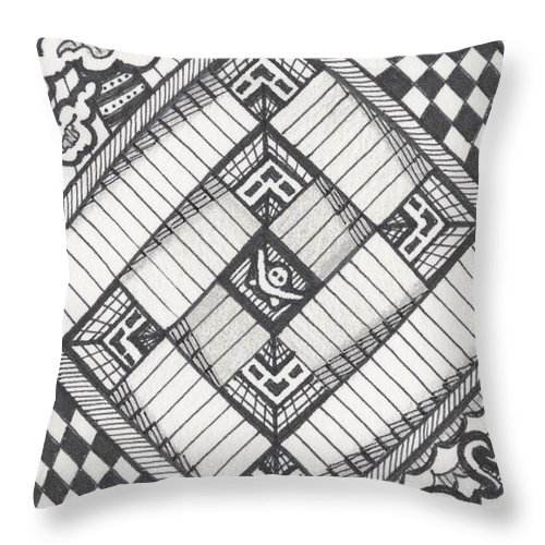 Zentangle Throw Pillow featuring the drawing Descent by Amy S Turner