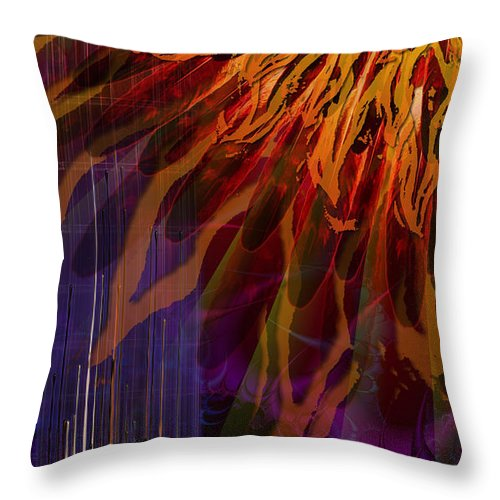 Icarus Throw Pillow featuring the digital art Descent Of Icarus by Kenneth Armand Johnson