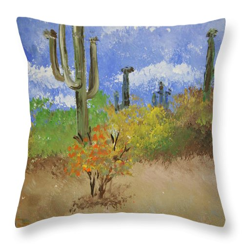 Cactus Throw Pillow featuring the pastel Desert Cactus by Melissa Wiater Chaney