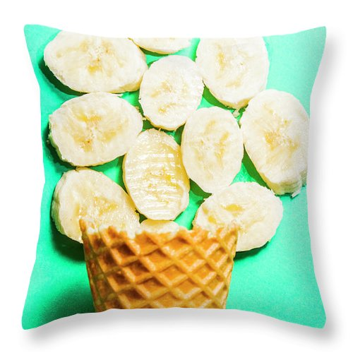 Banana Throw Pillow featuring the photograph Dessert Concept Of Ice-cream Cone And Banana Slices by Jorgo Photography - Wall Art Gallery