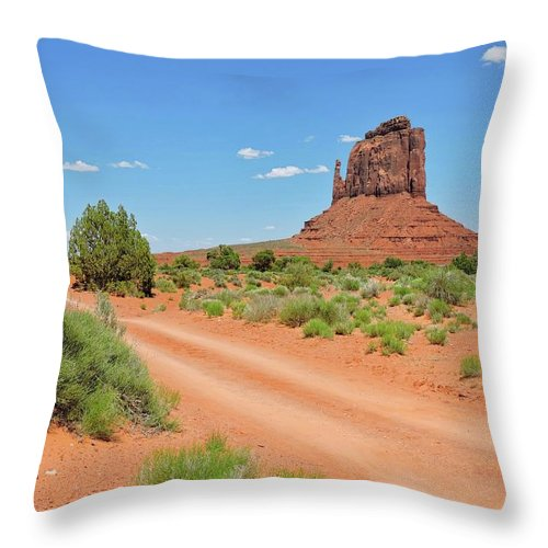 Monument Valley Throw Pillow featuring the photograph Desert Dirt Road by Connor Beekman