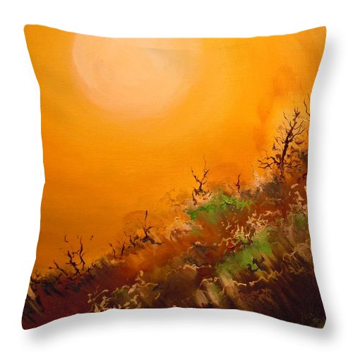 Desert Evening Throw Pillow featuring the painting Hot Desert Evening by Dan Whittemore