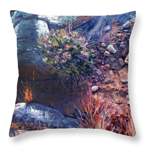 Desert Throw Pillow featuring the painting Desert Floor by Donald Maier
