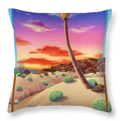 Landscape Throw Pillow featuring the painting Desert Gazebo by Snake Jagger