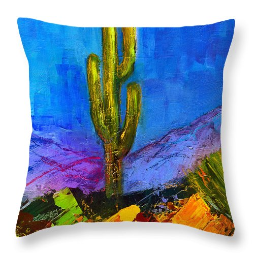 Desert Throw Pillow featuring the painting Desert Giant by Elise Palmigiani