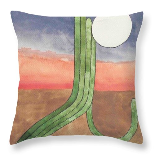 Desert Throw Pillow featuring the painting Desert Moon by LeAnne Sowa