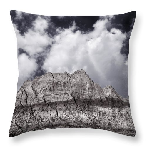 Nevada Throw Pillow featuring the photograph Desert Mountain Showing Iron Oxide Stripe by John Orsbun