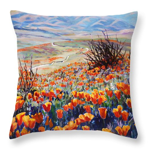 Poppies Throw Pillow featuring the painting Desert Poppies by Margaret Plumb