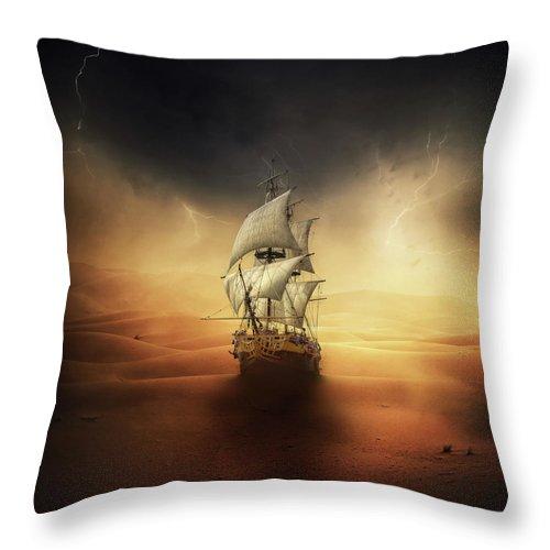 Sand Throw Pillow featuring the digital art Desert Storm by Zoltan Toth