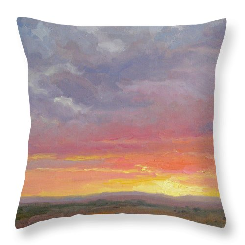 Sunset Throw Pillow featuring the painting Desert Sundown by Bunny Oliver