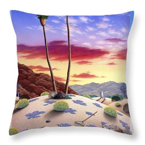 Desert Throw Pillow featuring the painting Desert Sunrise by Snake Jagger