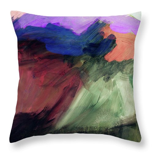 Abstract Painting Throw Pillow featuring the painting Desert Sunset 1- Art By Linda Woods by Linda Woods