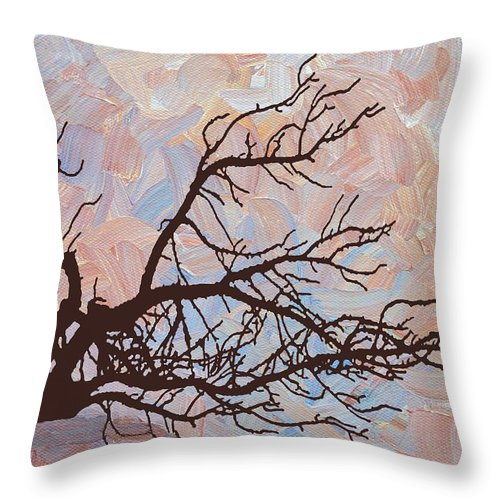 Abstract Throw Pillow featuring the digital art Desert Tree Branch by Linda Mears