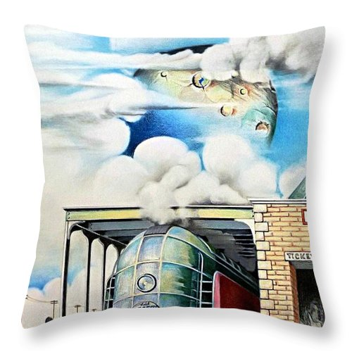 Train Drawing Throw Pillow featuring the drawing Desert Wind by David Neace