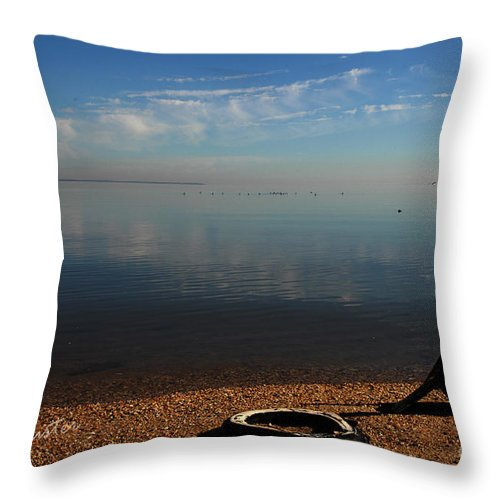 Clay Throw Pillow featuring the photograph Deserted Beach by Clayton Bruster