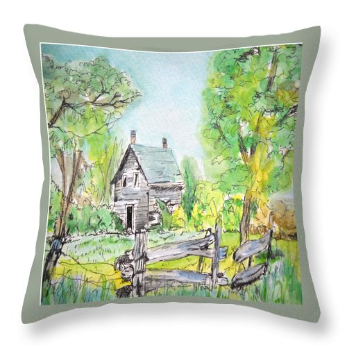 Nature Throw Pillow featuring the painting Deserted Sunrise by Lisa Cini