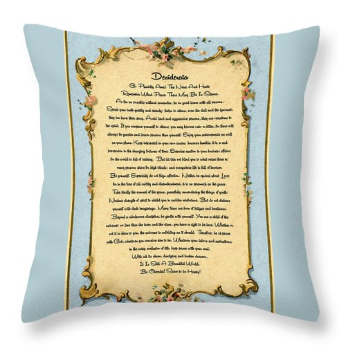 The Desiderata Poem By Max Ehrmann Throw Pillow featuring the painting Desiderata Poem On Antique Paris Postcard by Desiderata Gallery